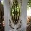 ประตูไม้สักกระจกนิรภัยวงรีสีขาว แกะองุ่นแต้มทอง รหัส A161 thumbnail 1
