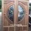 ประตูไม้สักกระจกนิรภัย แกะฟักทอง เกรดA รหัส AA09 thumbnail 1