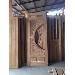 ประตูไม้สักกระจกนิรภัย แกะมังกรหงส์ เกรดB+, B รหัส AB02