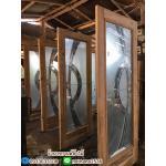 ประตูไม้สักกระจกนิรภัย เต็มบาน เกรดB+, B รหัส AB066
