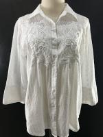 เสื้อวินเทจ ปักมือ White Blouse Brand : Antica Santorio ( MADE IN INDIA )