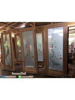 ประตูไม้สักกระจกนิรภัย เต็มบาน เกรดB+, B รหัส AB0266