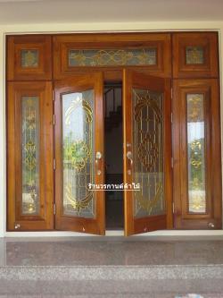 ประตูไม้สักบานคู่กระจกนิรภัยเต็มบาน บานเปิด-ปิด ชุด 7ชิ้น รหัสAAA09