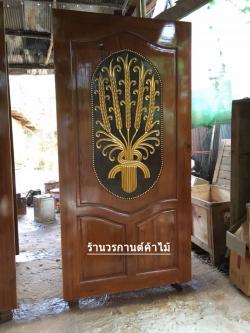ประตูไม้สักบานเดี่ยว แกะรวงข้าว เกรดA รหัส C11