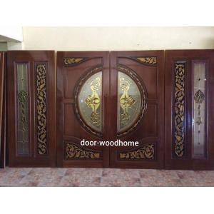 ประตูไม้สักกระจกนิรภัย แกะองุ่น ชุด 4 ชิ้น รหัส AA11