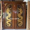 ประตูไม้สักบานคู่ แกะมังกรคู่ เกรดA รหัสBB01