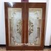 ประตูไม้สักกระจกนิรภัย เต็มบาน สีทอง เกรดA รหัสA06