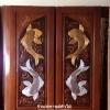 ประตูไม้สักบานคู่ แกะปลาเงินปลางทอง เกรดA รหัสBB02