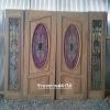 ประตูไม้สักกระจกนิรภัยวงรี บานเฟี้ยมข้าง ชุด4ชิ้น เกรดA รหัส NOT09