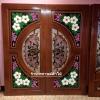 ประตูไม้สักกระจกนิรภัย แกะดอกลีลาวดี เล่นสี เกรดA รหัสA07