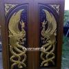 ประตูไม้สักบานคู่ แกะหงส์คู่ เกรดA รหัสBB15