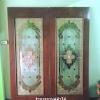 ประตูไม้สักกระจกนิรภัย เต็มบาน เกรดA รหัสA05