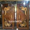 ประตูไม้สักบานคู่แตงโม แกะมังกรหงส์ เกรดA รหัสBB07