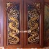 ประตูไม้สักบานคู่ แกะมังกรคู่ เกรดA รหัสBB04