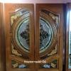 ประตูไม้สักกระจกนิรภัย แกะมังกรหงปลาเงิน-ทอง เกรด A รหัสA22