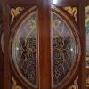 ประตูไม้สักกระจกนิรภัย แตงโมเต็มบาน แกะมังกร เกรดA รหัสA03