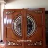 ประตูไม้สักกระจกนิรภัย แตงโม เกรดA รหัสA16