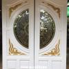 ประตูไม้สักกระจกนิรภัยสีขาว แกะหงส์มังกร เกรดA รหัส NNA188
