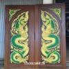 ประตูไม้สักบานคู่ แกะพญานาค เกรดA,B+ รหัสBB03