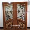ประตูไม้สักกระจกนิรภัย ปีกนก เกรดA รหัส A01