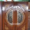 ประตูไม้สักกระจกนิรภัย แกะมังกร หงส์ เกรดA รหัสA14