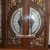 ประตูไม้สักกระจกนิรภัย แกะองุ่น เกรด A รหัสA20
