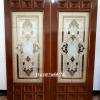 ประตูไม้สักกระจกนิรภัย สี่เหลี่ยมครึ่งบาน เกรดA รหัสA02
