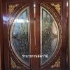 ประตูไม้สักกระจกนิรภัย แตงโมเต็มบาน แกะดอกไม้ เกรดA รหัสA04