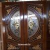ประตูไม้สักกระจกนิรภัย แกะดอกไม้ แต้มทอง เกรดA รหัสA08