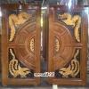 ประตูไม้สักบานคู่ แกะ มังกรหงส์ รหัส BB107