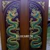 ประตูไม้สักบานคู่ แกะมังกรคู่ เกรดA,B+ รหัสBB05
