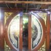 ประตูไม้สักกระจกนิรภัยแตงโมเต็มบาน เกรดAรหัส NNA187
