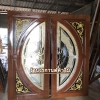 ประตูไม้สักกระจกนิรภัย แตงโมเต็มบาน เกรด A รหัส NNA27