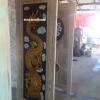 ประตูไม้สักบานเดี่ยว แกะมังกร สีธรรมชาติของไม้สัก รหัส198