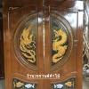 ประตูไม้สักบานคู่ แกะมังกรหงส์ปลาเงิน-ทอง เกรดA,B+ รหัสBB08