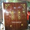 ประตูไม้สักบานคู่ แกะฟักแกะ เกรดA,B+ รหัสBB09