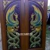 ประตูไม้สักบานคู่ แกะหงส์คู่ เกรดA,B+ รหัส BB06