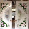 ประตูไม้สักกระจกนิรภัย แกะดอกไม้ สีขาว เกรดA รหัส A23