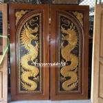 ประตูไม้สักบานคู่ แกะมังกรคู่ เกรดA รหัส BB01