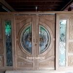 ประตูไม้สักกระจกนิรภัยบานเลื่อน ชุด4ชิ้น เกรดA รหัส NOT06