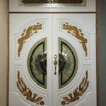 ประตูไม้สักกระจกนิรภัยแกะมังกร สีขาว ชุด 3ชิ้น เกรดA รหัส AAA50
