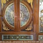 ประตูไม้สักกระจกนิรภัย แกะมังกรหงส์ ชุด 7ชิ้น เกรดA รหัส AAA56