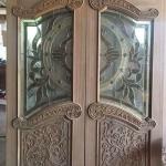 ประตูไม้สักกระจกนิรภัย ปีกนก เกรดA รหัส AA01