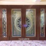 ประตูไม้สักกระจกนิรภัย สุดหรู ชุด4ชิ้น รหัส AAA27