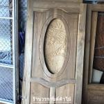 ประตูไม้สักกระจกนิรภัยวงรี เกรดA รหัส AA50