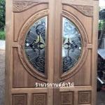 ประตูไม้สักกระจกนิรภัย แกะฟักทอง เกรดA รหัส AA3