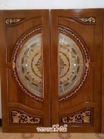 ประตูไม้สักกระจกนิรภัย แกะดอกไม้ลายไทยNNA11