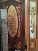 ประตูไม้สักกระจกนิรภัย วงรี เกรดA รหัสNNA18