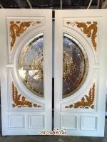 ประตูไม้สักกระจกนิรภัยNNA10