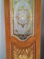 ประตูไม้สักกระจกนิรภัย แกะดอกไม้ NNA08